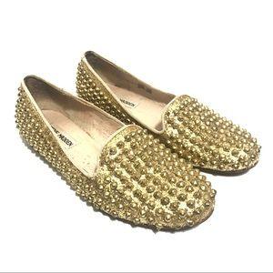 Steve Madden Gold Studded Loafers Size 7.5